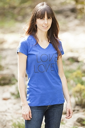 Tees - California 89 Women's Short Sleeve V-Neck Love Tennis Tee