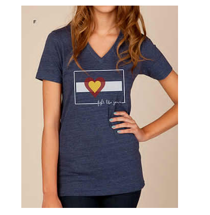 Tees - Big Colorado Love Fight Like Jenn Women's V-Neck: True Navy