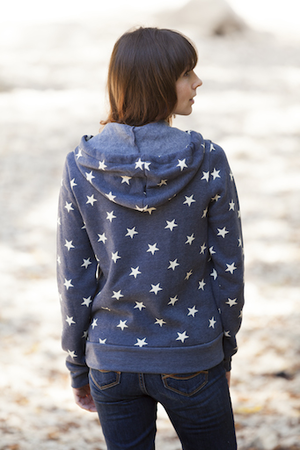 Hoodies - California 89 WOMEN'S ATHLETIC HOODIE WITH STARS