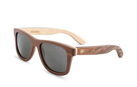 Bosky Optics Vallely Engraved Wood Sunglasses Polarized Grey Lens