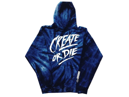Hoodies - So-Gnar Create or Die Dark BlueTie-Dye  Hoodie