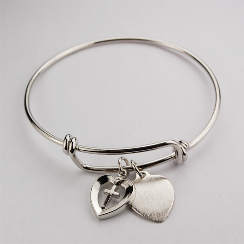Bangle Bracelet Heart and cross