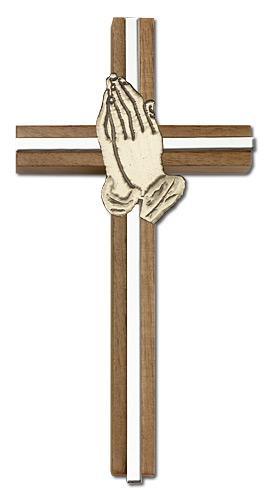 6 inch praying hands cross walnut w gold inlay