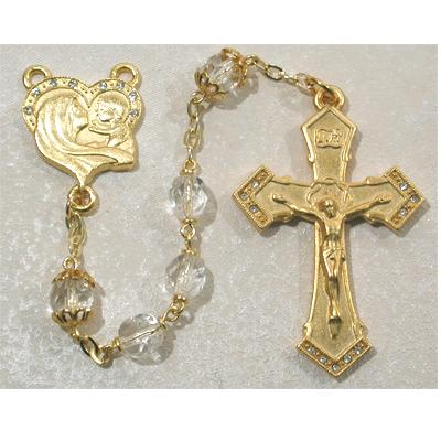 Gold Plated Rosary With 7 mm Crystal Beads