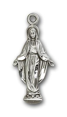 Sterling Silver Miraculous Medal - Pendant - Mary Figure