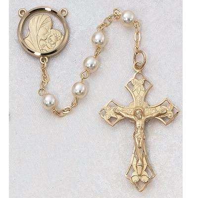 Gold OVER Silver 6mm Pearl Glass Bead Rosary