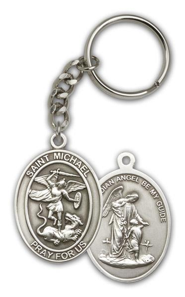 Antique Silver St. Michael the Archangel- Keychain
