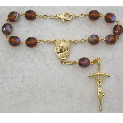 Papal Auto Rosary Topaz