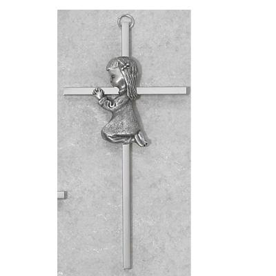 6 Inch Silver Cross With Girl Praying