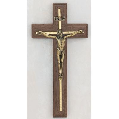 10 Inch Walnut Crucifix Gold Overlay