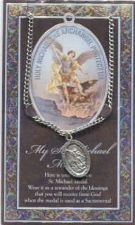 St. Michael Medal 950 330 on 18 inch Chain with Picture Folder