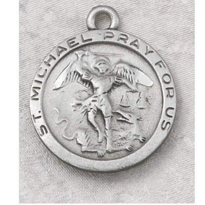 Round St Michael Medal Pewter