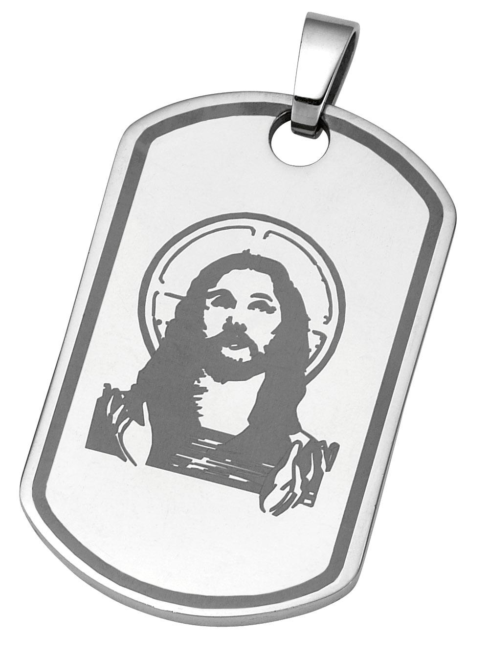 stainless steel christ dog tag