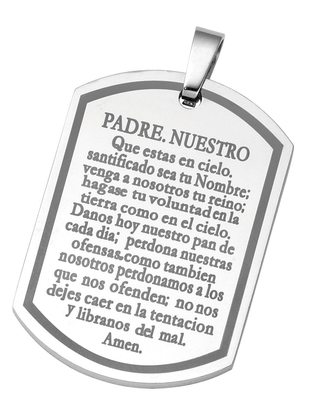 stainless steel padre nuestro dog tag pendant