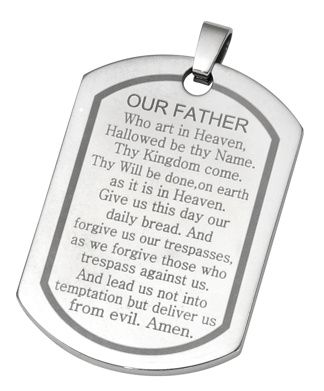 stainless steel lords prayer dog tag pendant