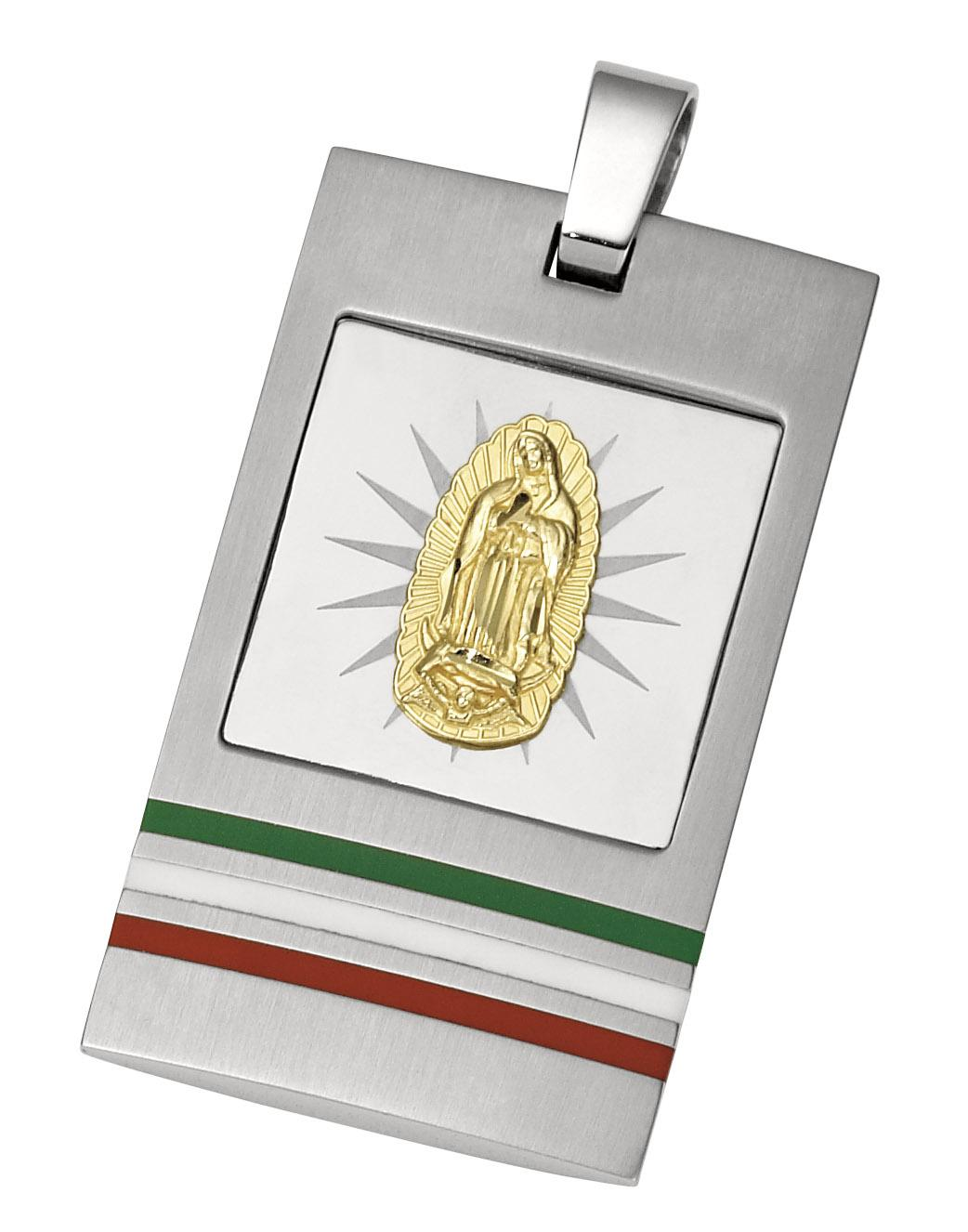 stainless steel guadalupe dog tag
