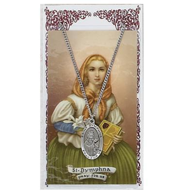 St Dymphna Prayer Card and Medal