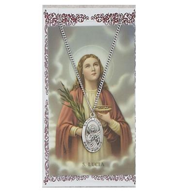 St Lucy Prayer Card and Medal
