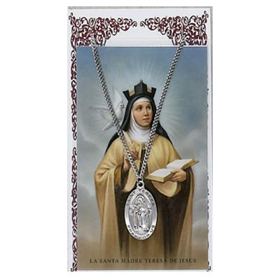 ST TERESA AVILA Prayer Card and MEDAL SET