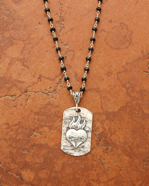 sacred heart dog tag silver