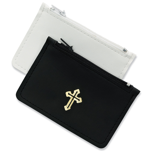 White Thin Leather Rosary Pouch