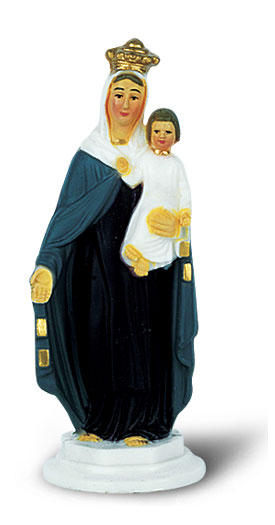 Our Lady of Mount Carmel 4 inch Hand Painted Statue Package of 3