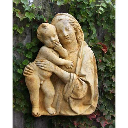 madonna child silhouette outdoor plaque 18in