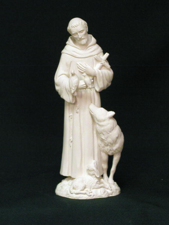 wolf and st francis religious statue
