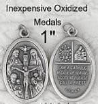 oval four way medal oxidized