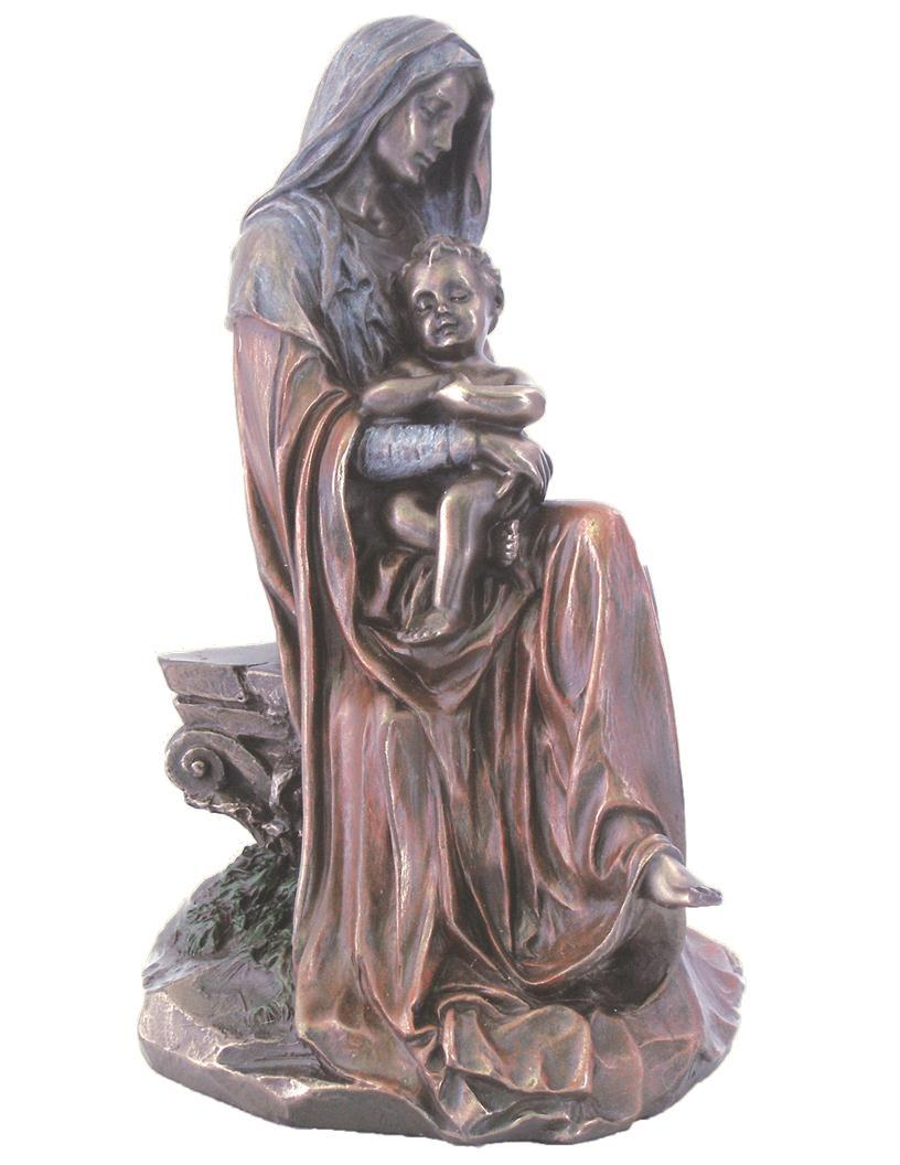 madonna child veronese bronzed resin lightly hand painted 6