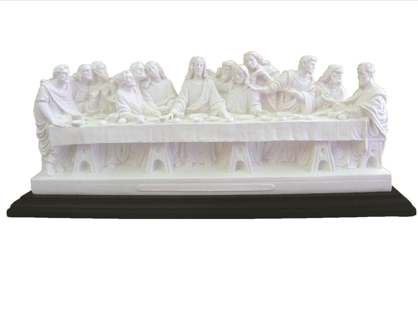 last supper veronese in white resin on a high quality black wood base 9.25