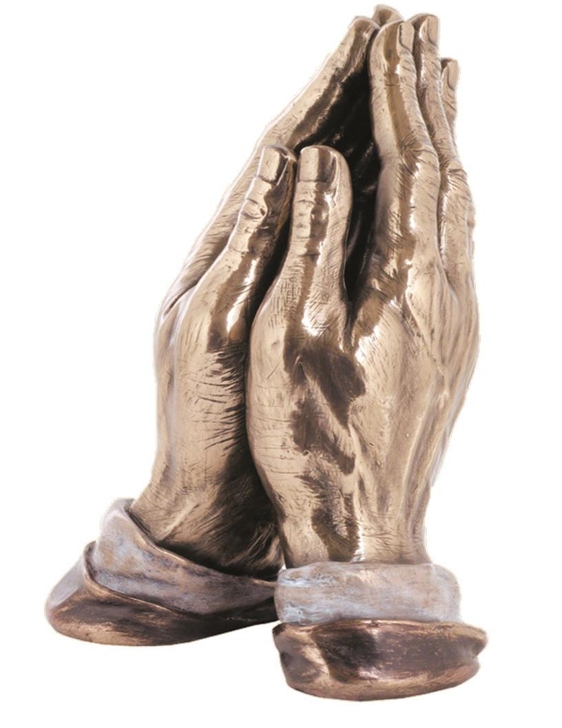 praying hands veronese bronzed resin lightly hand painted 7.5