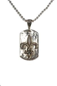 sterling silver fleur de lis dog tag