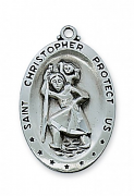pewter st christopher medal with chain
