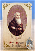 saint benedict healing holy card and medal