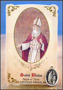 saint blaise healing holy card and medal