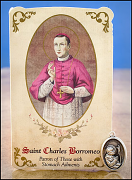 saint charles borromeo healing holy card and medal