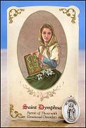 saint dymphna healing holy card medal