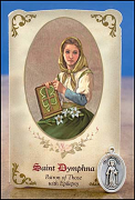 saint dymphna healing holy card and medal