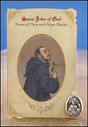 saint john of god healing holy card and medal