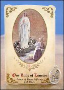 our lady of lourdes healing holy card and medal