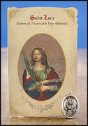 saint lucy healing holy card and medal
