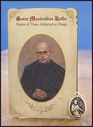 saint maximilian kolbe healing holy card and medal