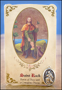 saint roch healing holy card and medal