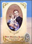 saint stanislaus kostka healing holy card and medal