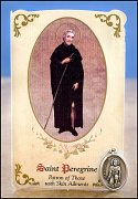 saint peregrine healing holy card and medal