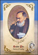 saint pio healing holy card and medal
