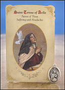 saint teresa of avila healing holy card and medal