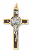 3 inch gold st benedict crucifix with brown enamel