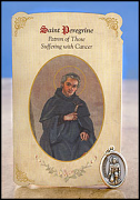 saint peregrine healing holy card medal
